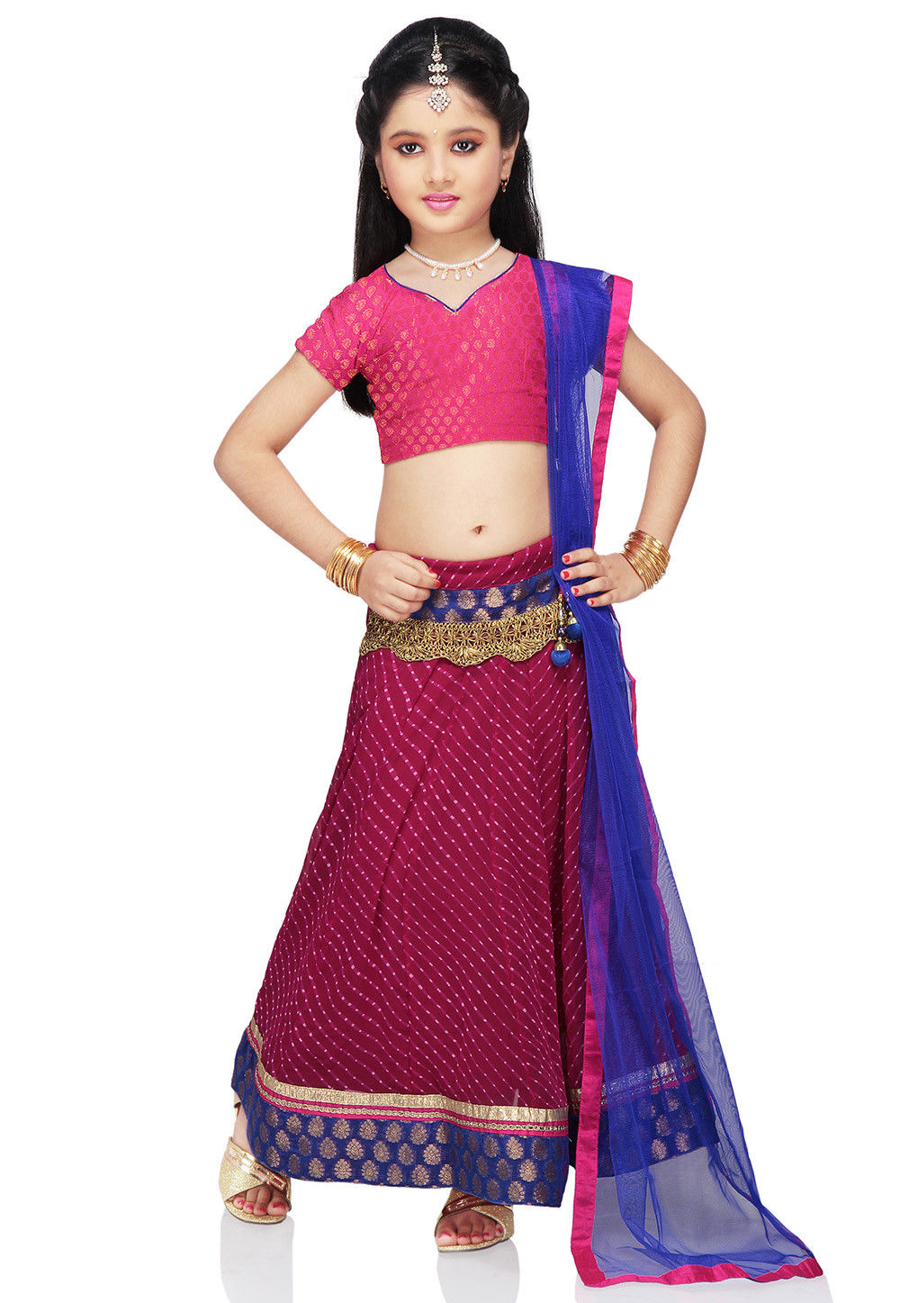 Printed Georgette Lehenga Sets in Fuchsia