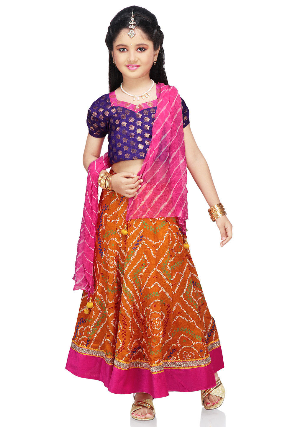 Printed Crepe Lehenga Set in Orange