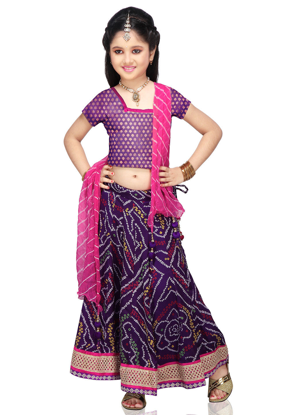 Printed Crepe Lehenga Sets in Purple