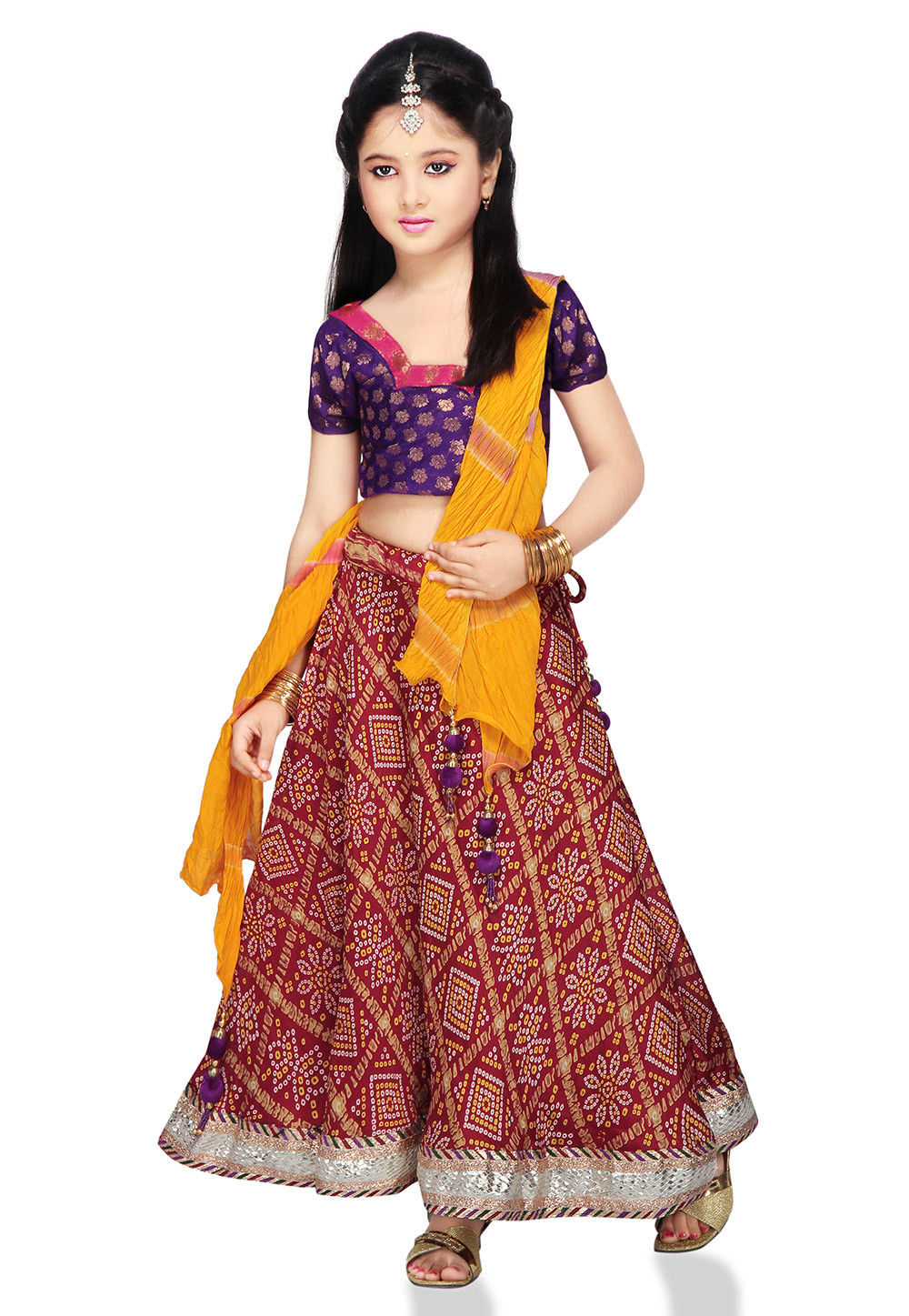 Printed Crepe Lehenga Sets in Maroon