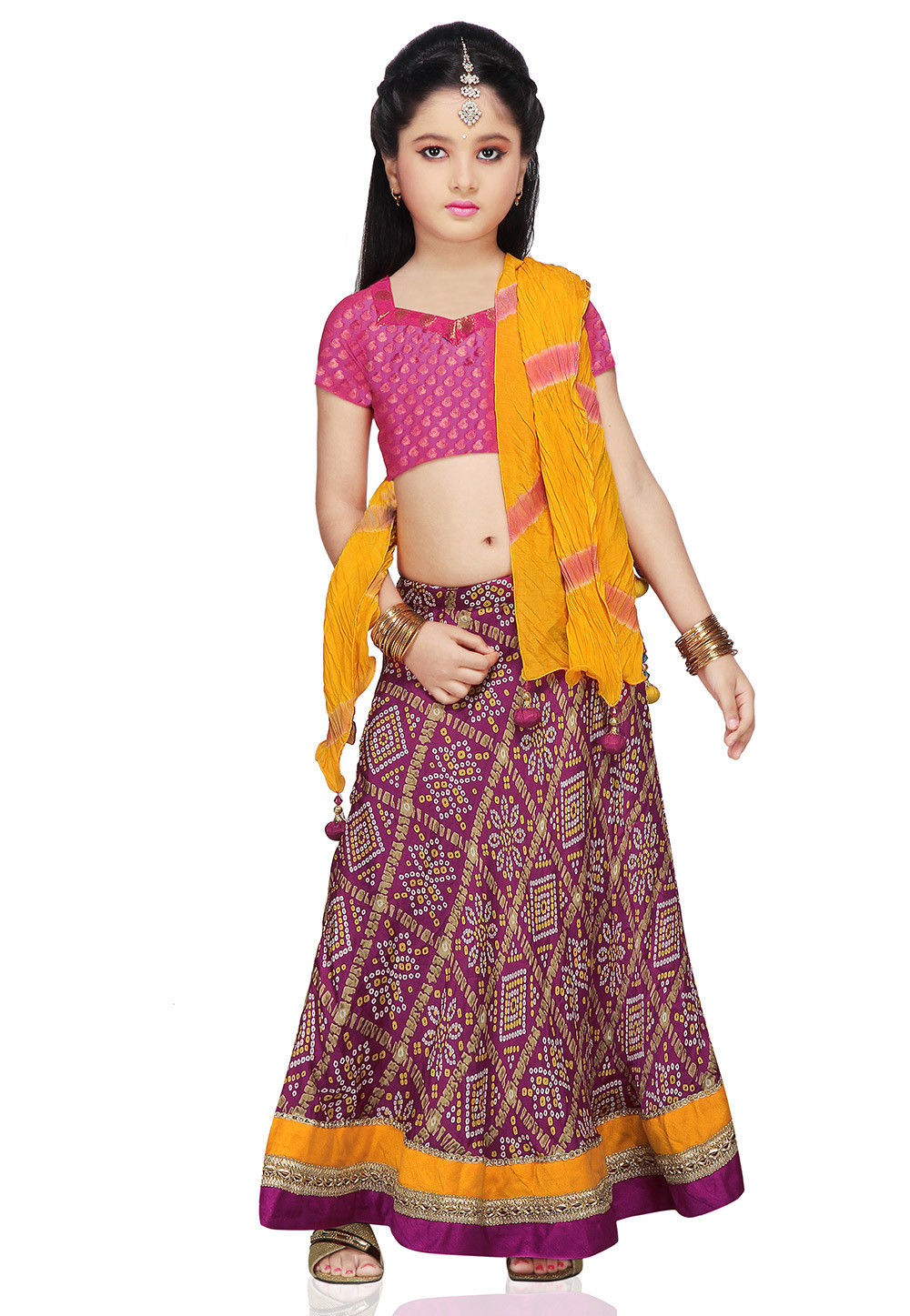 Printed Crepe Lehenga Sets in Magenta