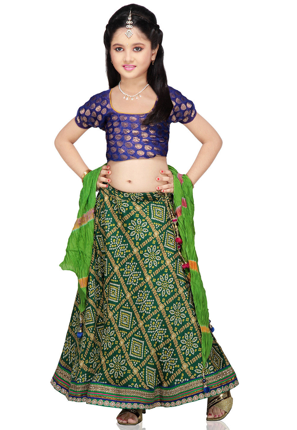 Printed Crepe Lehenga Set in Green