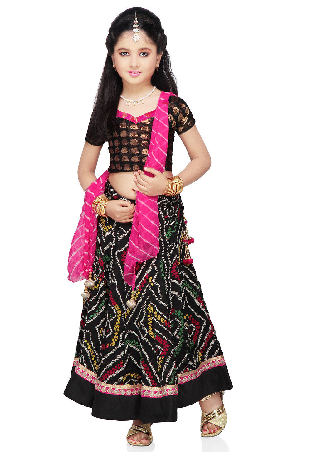 Printed Crepe Lehenga Set in Black