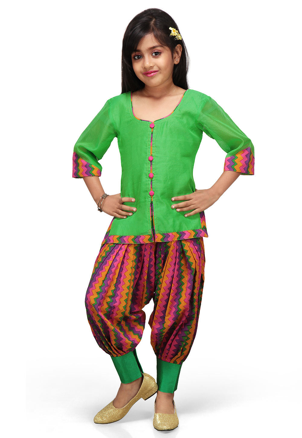 Printed Chanderi Silk Salwar Set in Green