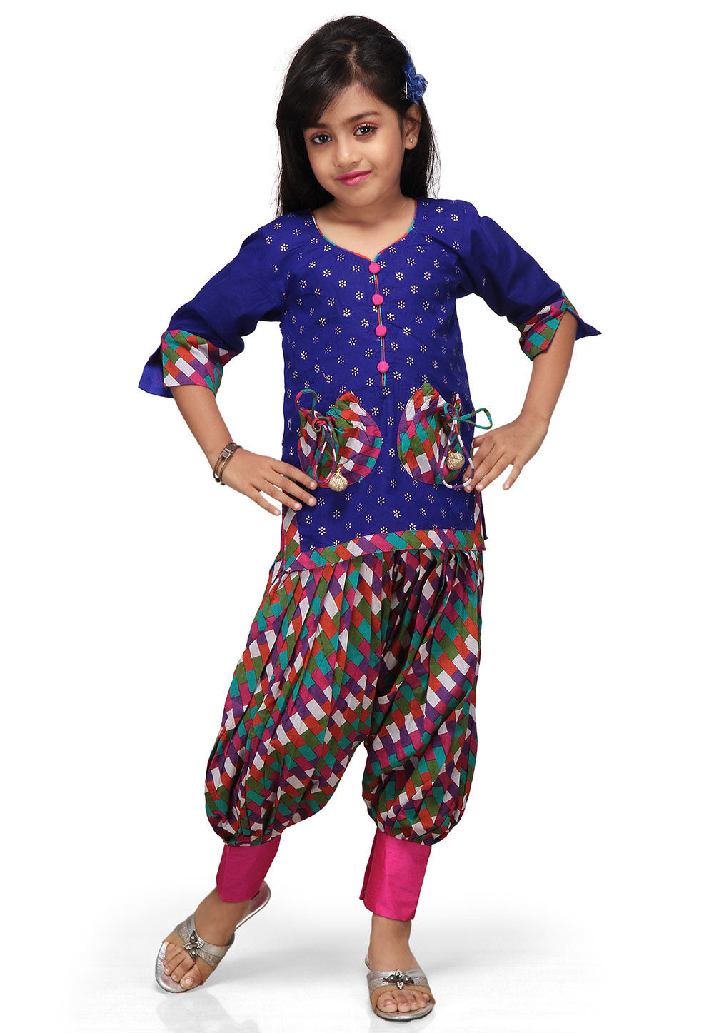 Printed Cotton Salwar Sets in Blue