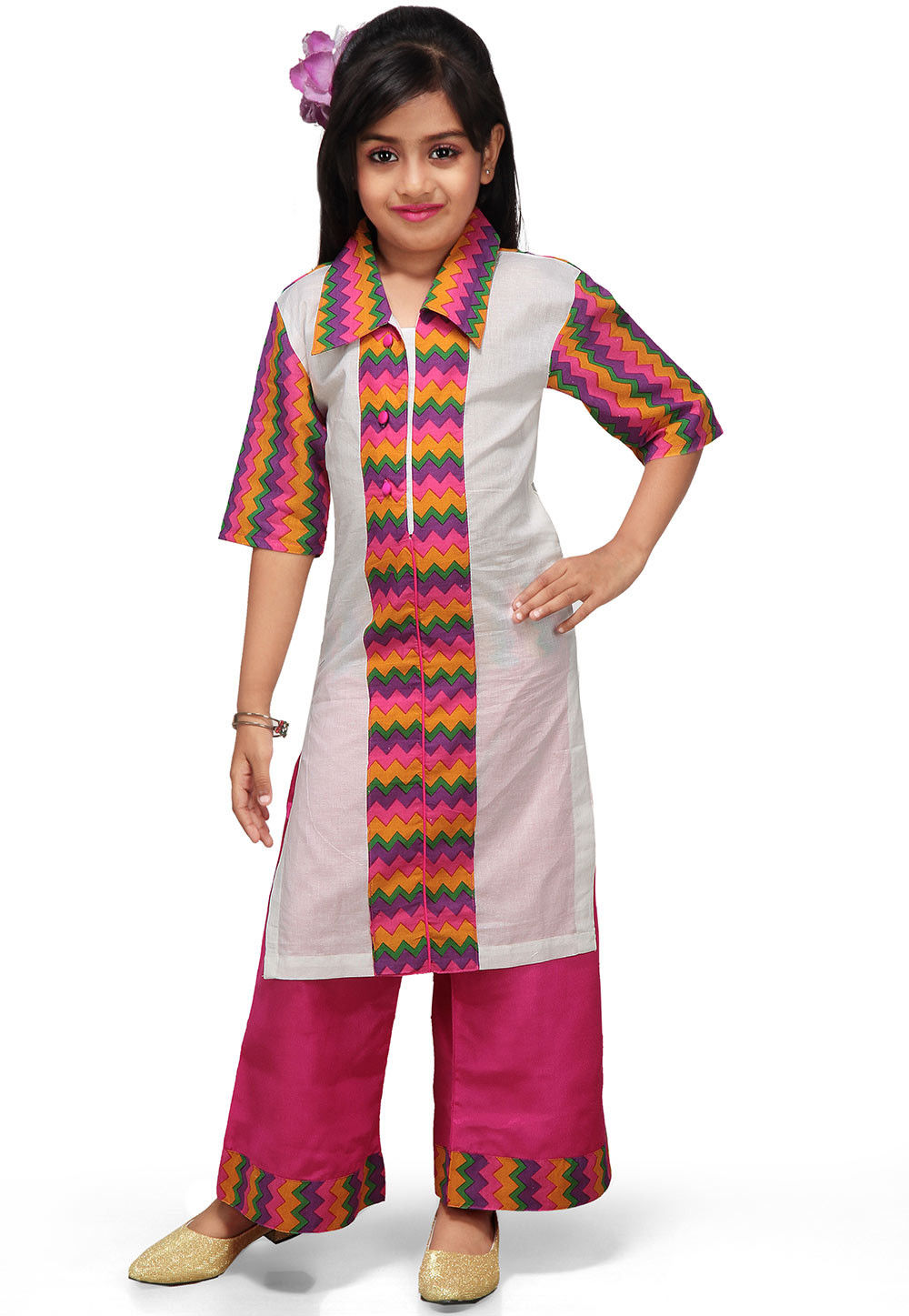 Printed Cotton Salwar Sets in White