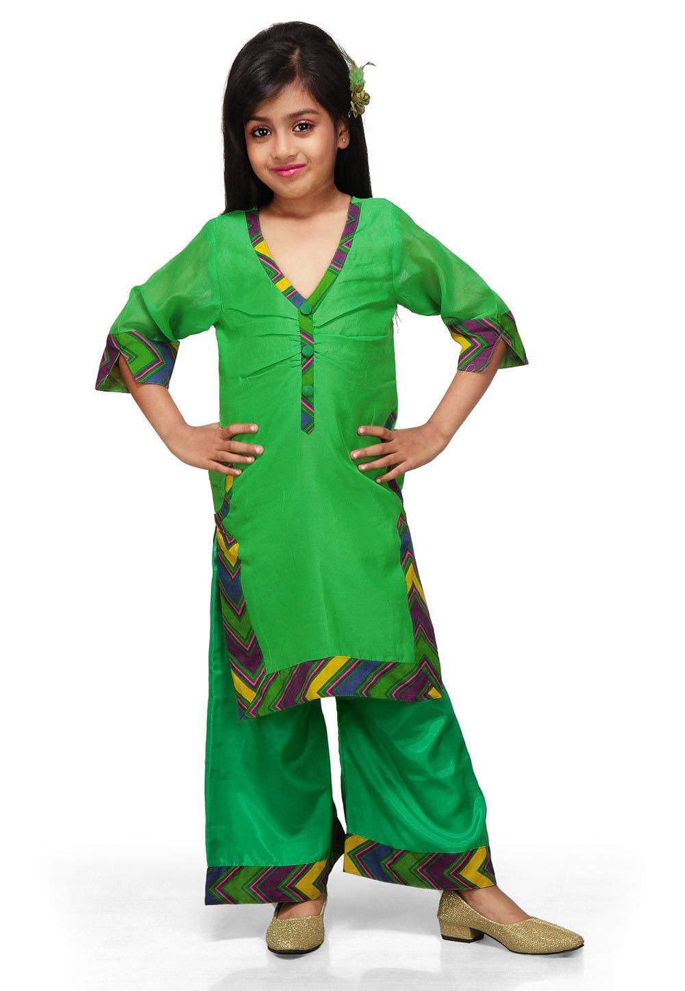 Plain Chanderi Salwar Sets in Green