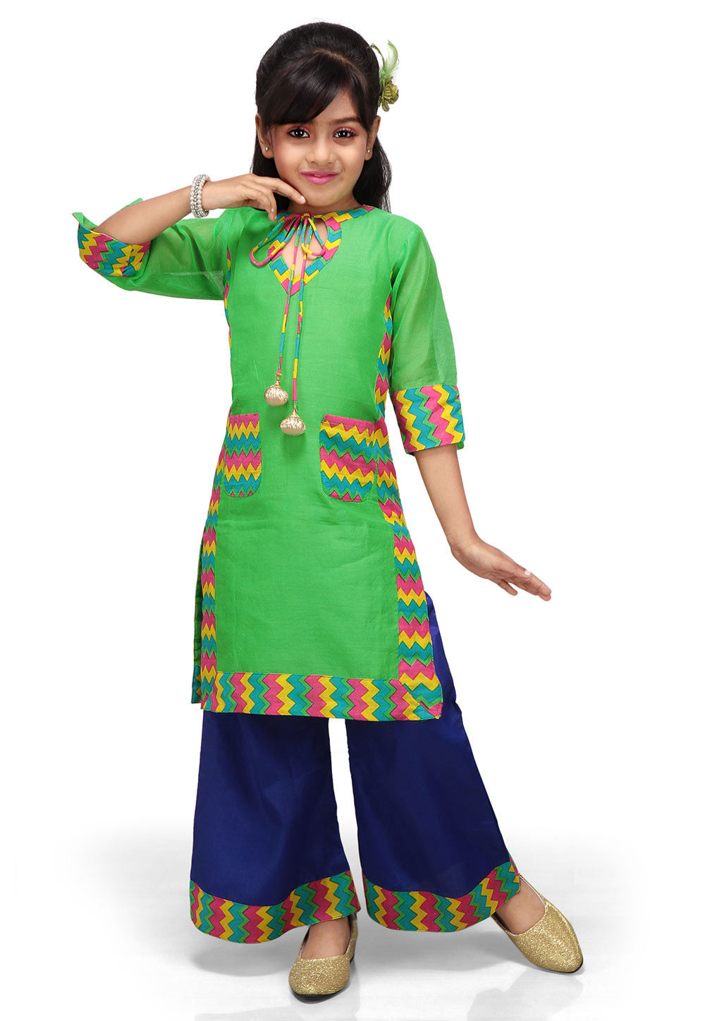 Printed Chanderi Art Silk kurta with Palazzo in Green