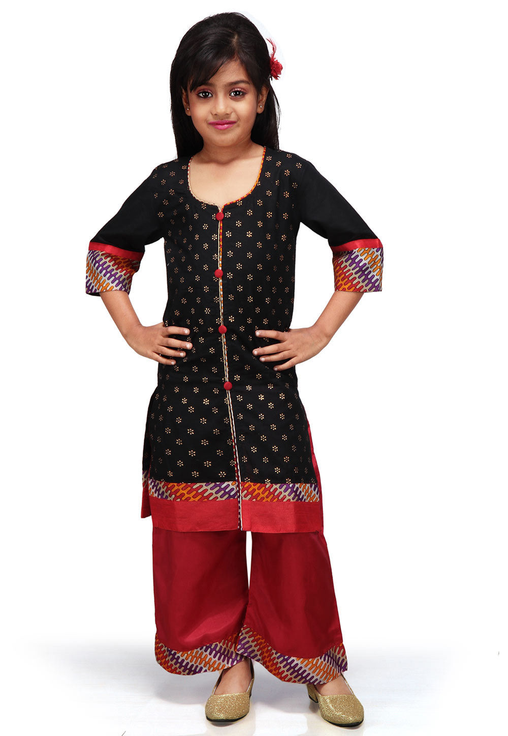 Printed Cotton Front Slit Salwar Set in Black