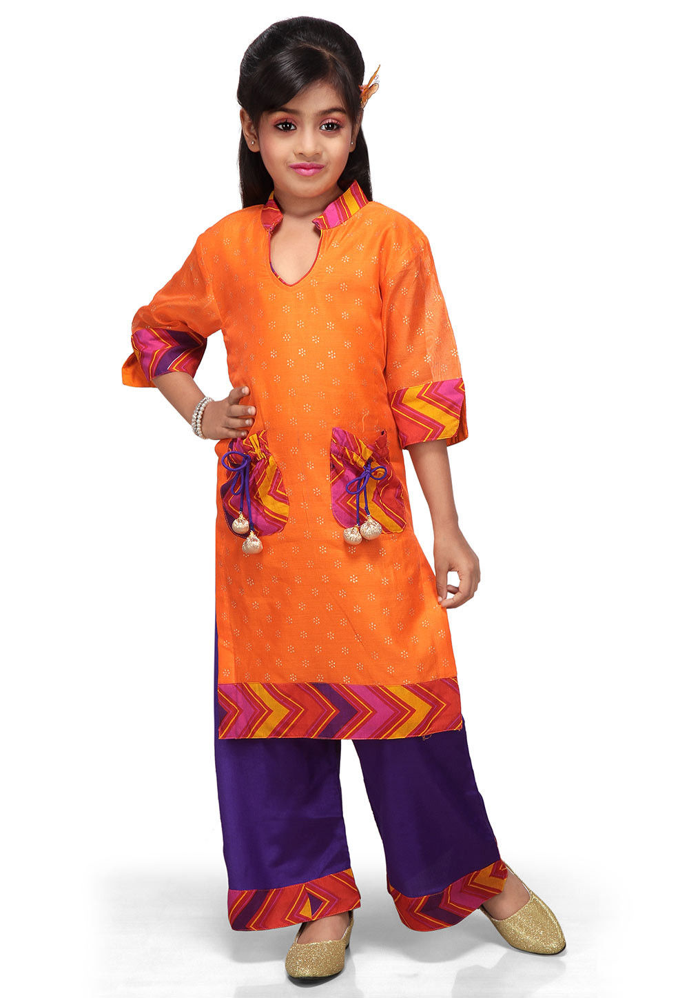 Printed Chanderi Salwar Sets in Orange