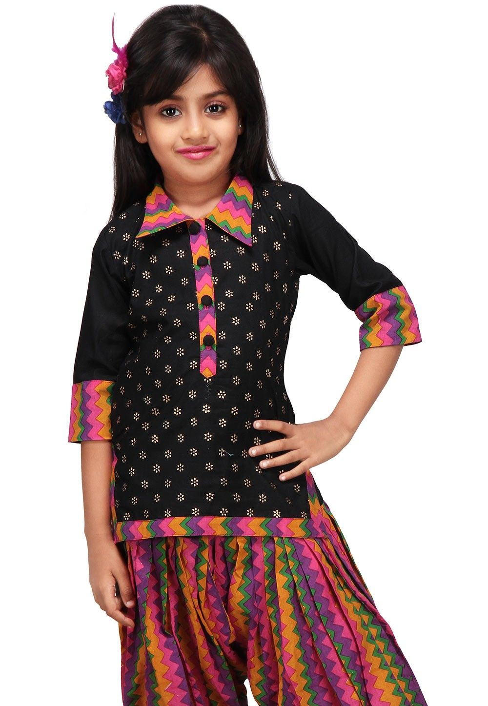 Printed Cotton Kurti in Black