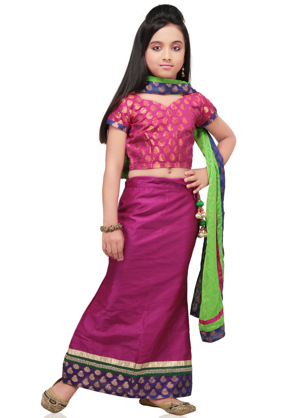 Plain Raw Silk Lehenga Set in Magenta