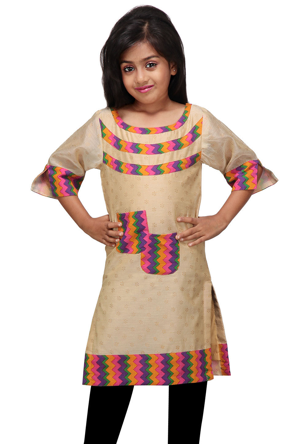 Printed Art Chanderi Kurti in Beige