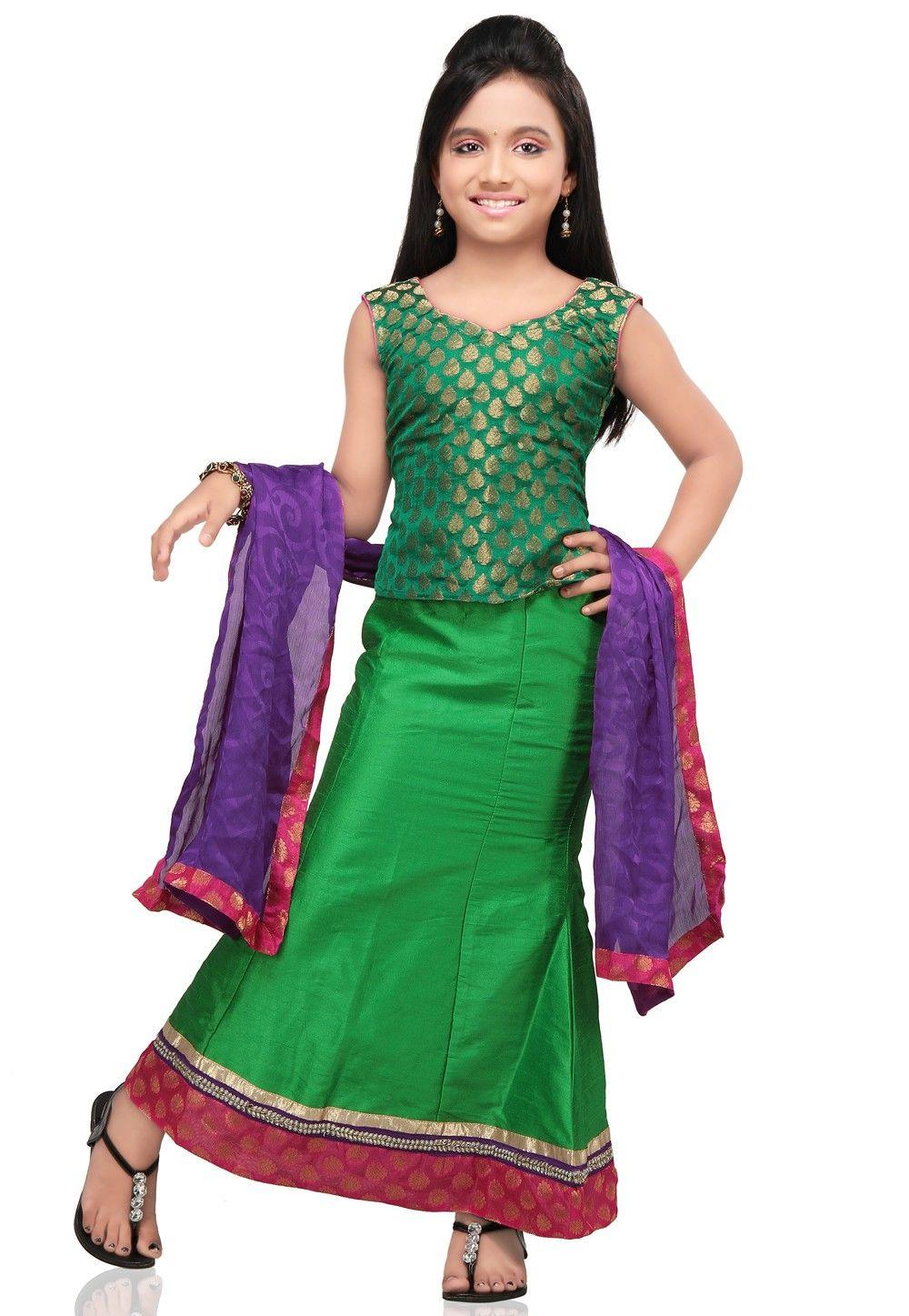 Plain Raw Silk Lehenga Set in Green
