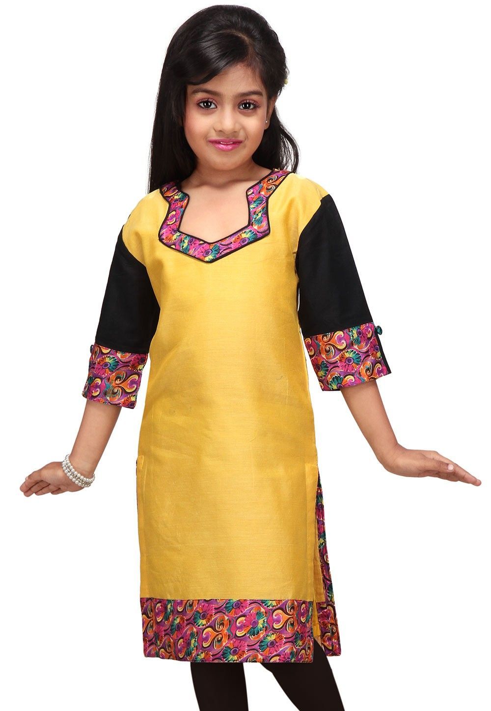 Art Chanderi Kurti in Yellow