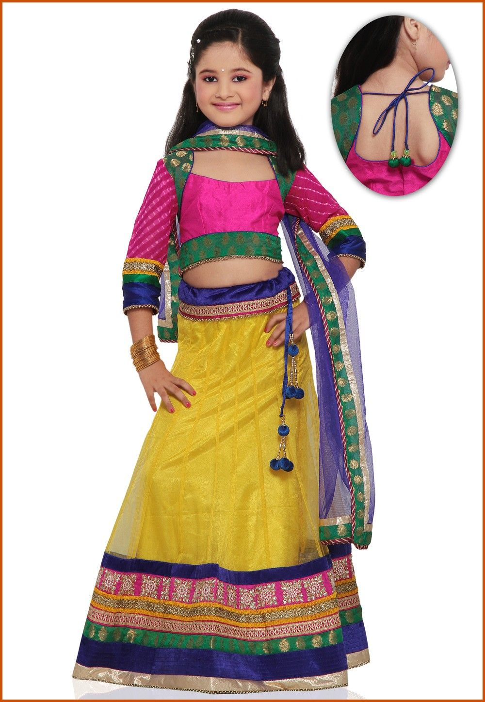 Embroidered Net Lehenga Set in Yellow