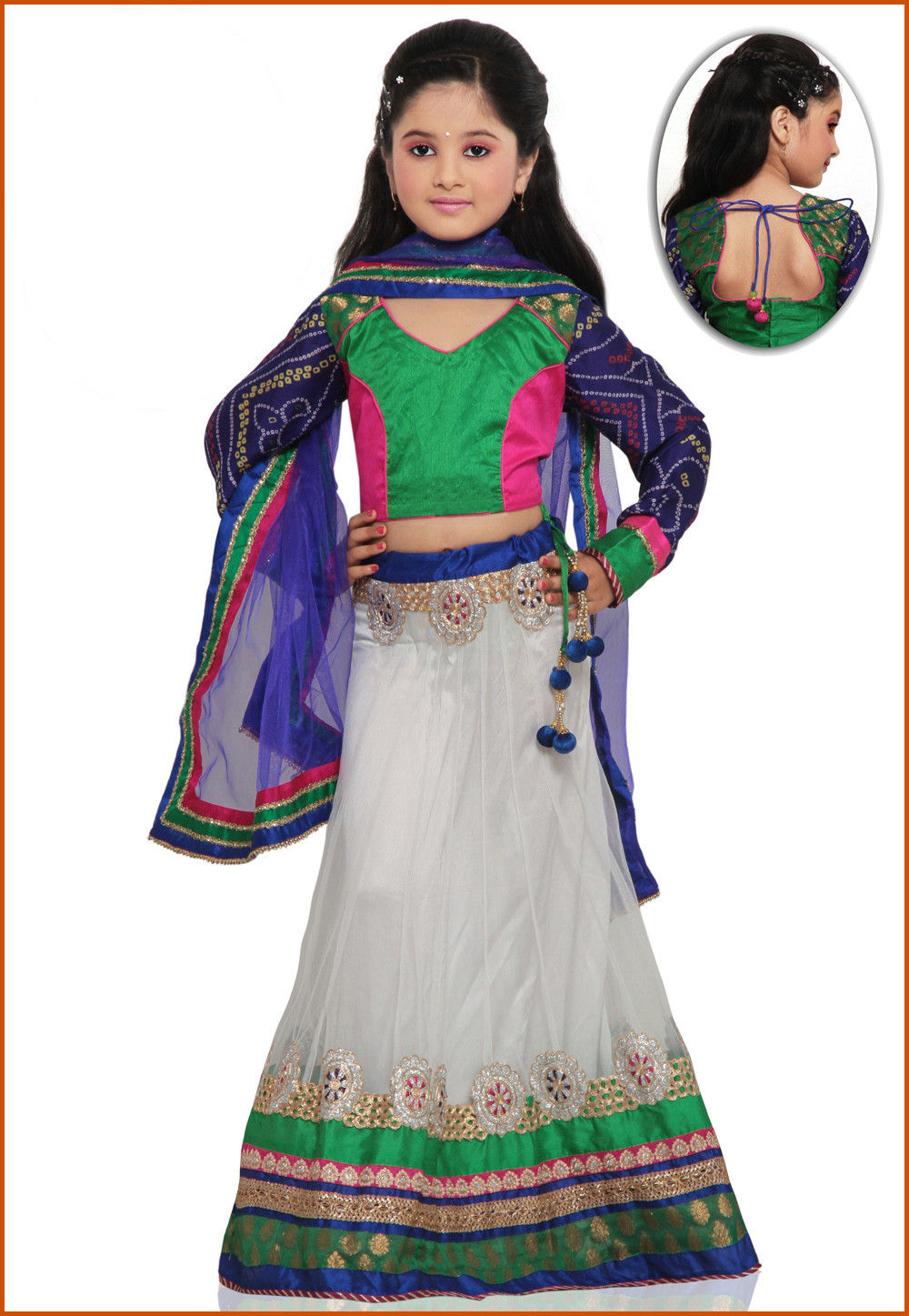 Embroidered Net Lehenga Set in White