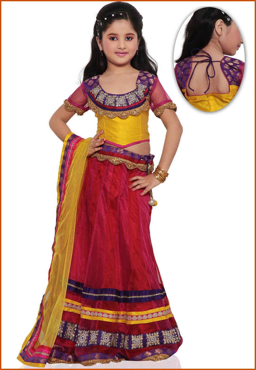 Embroidered Net Lehenga Set in Red and Fuchsia