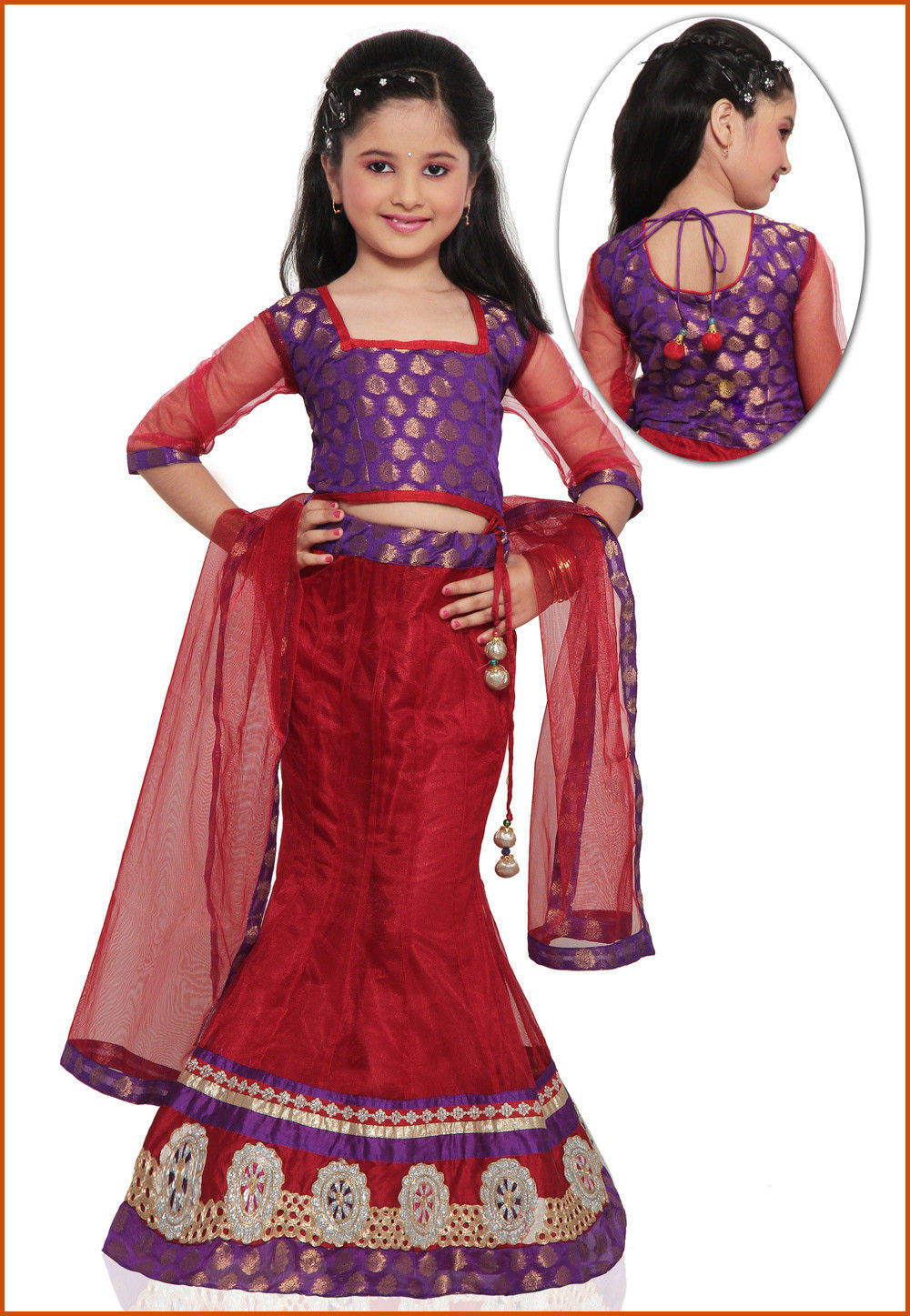 Embroidered Net Lehenga Set in Red