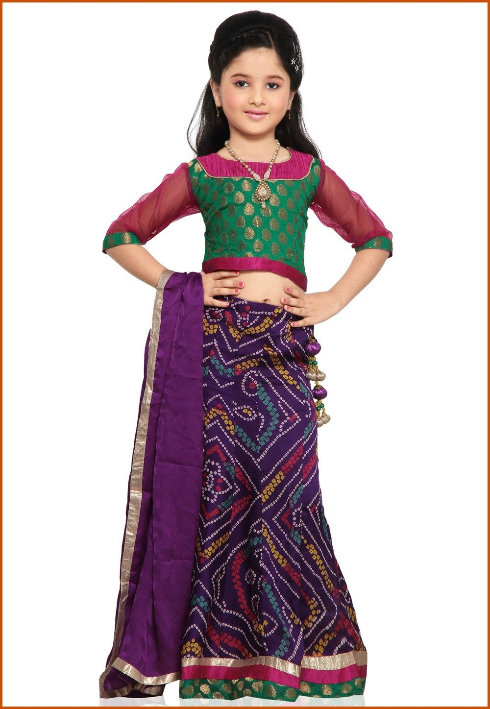Printed Crepe Lehenga Set in Purple
