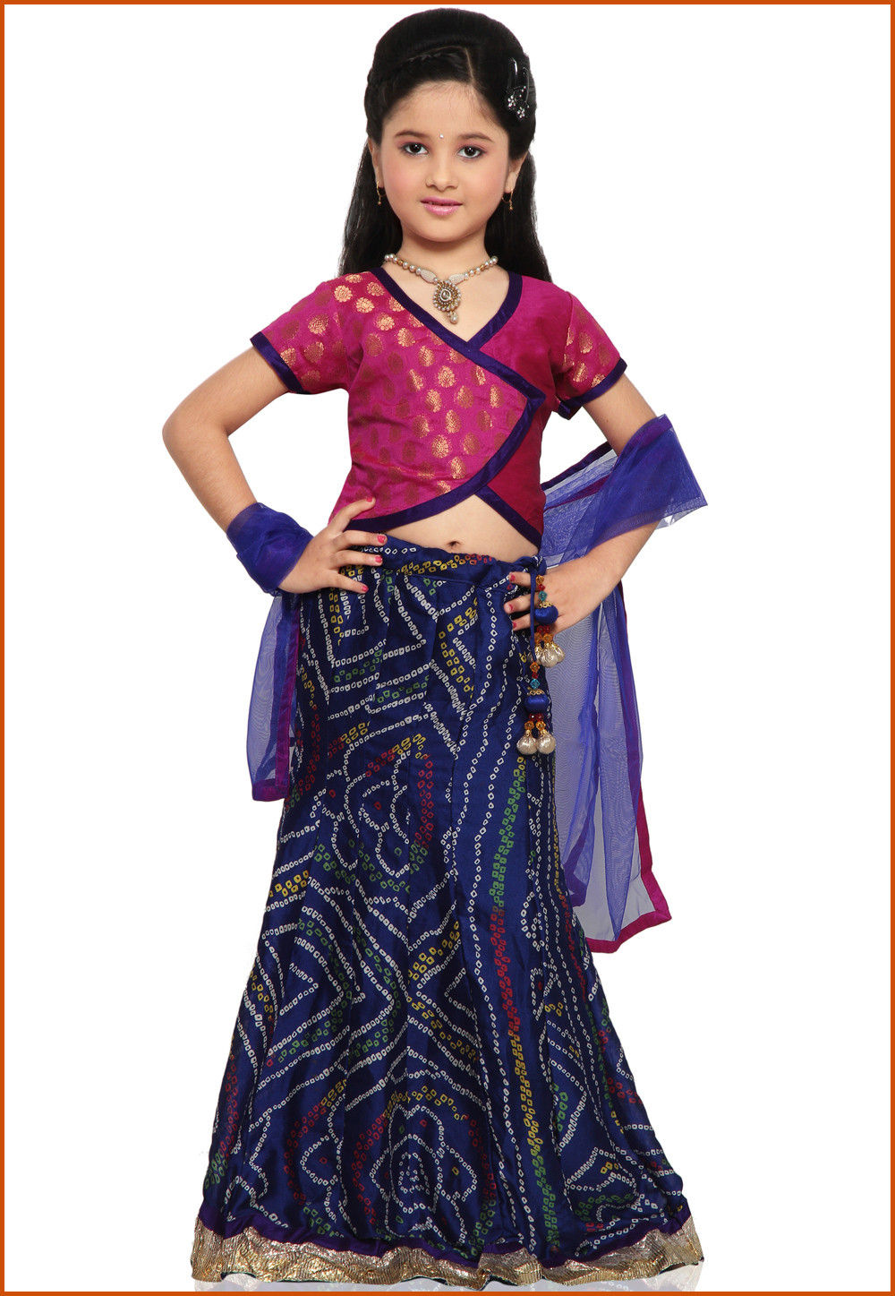Printed Crepe Lehenga Set in Navy Blue