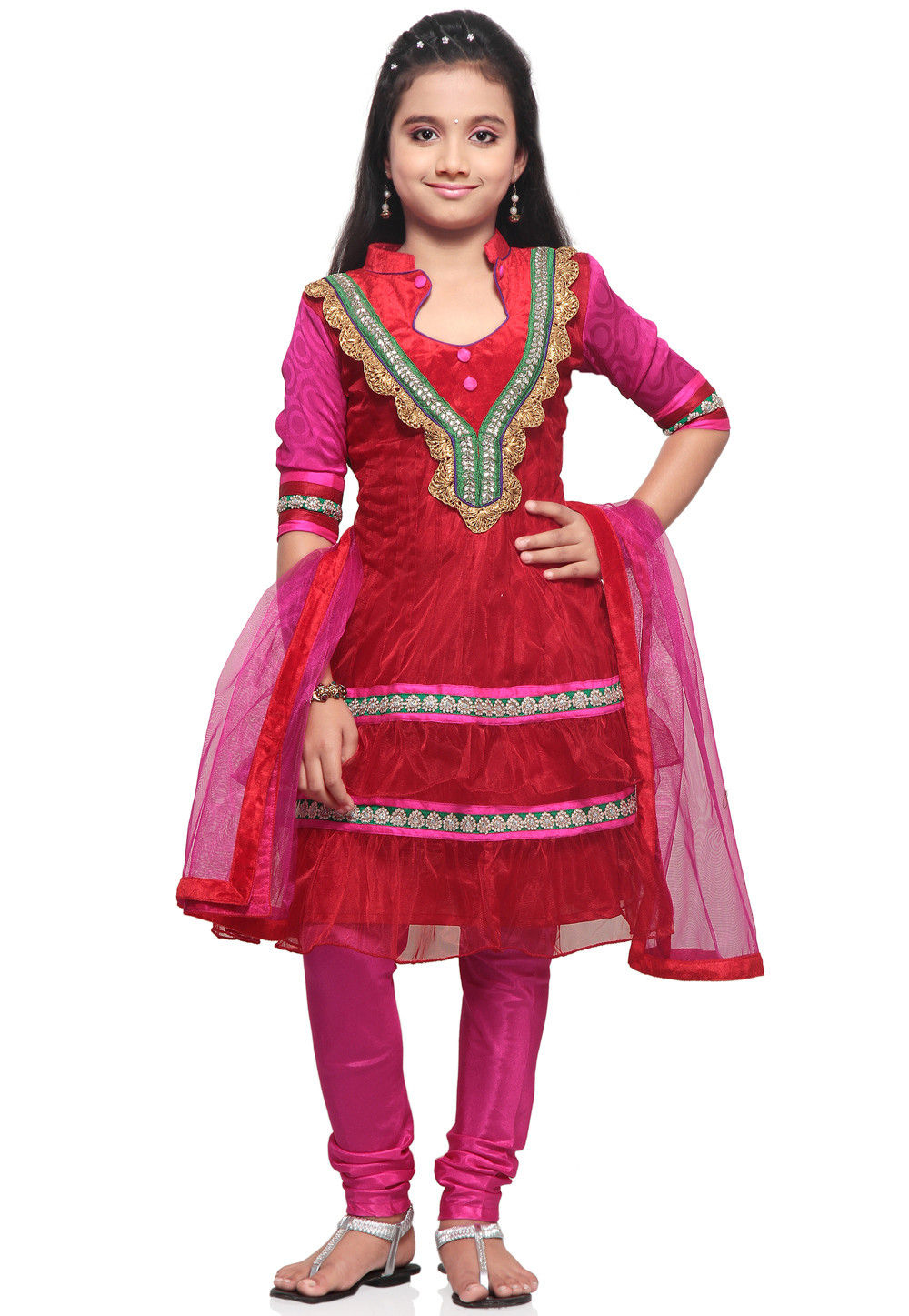 Embroidered Net Salwar Set in Red