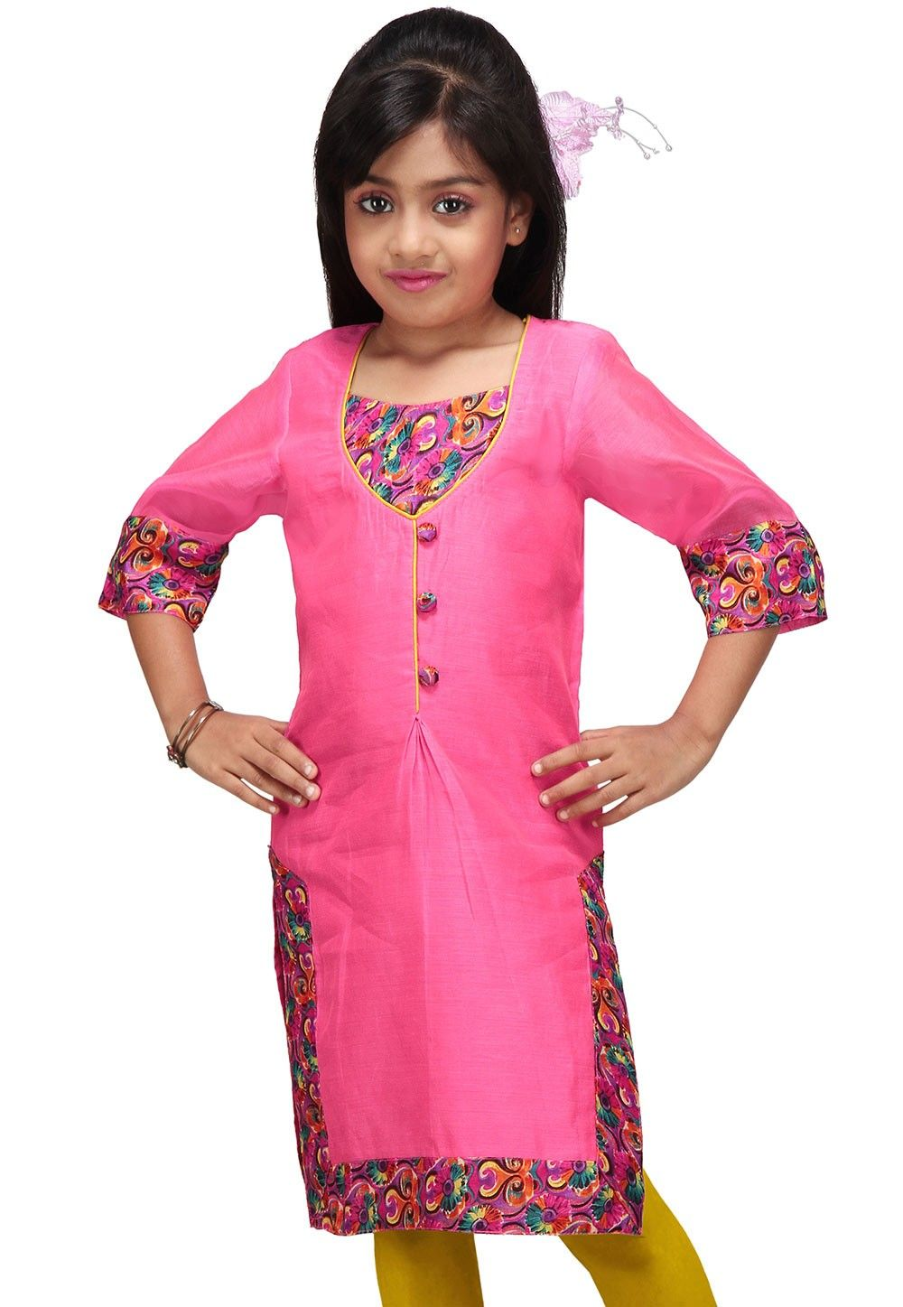 Art Chanderi Kurti in Pink