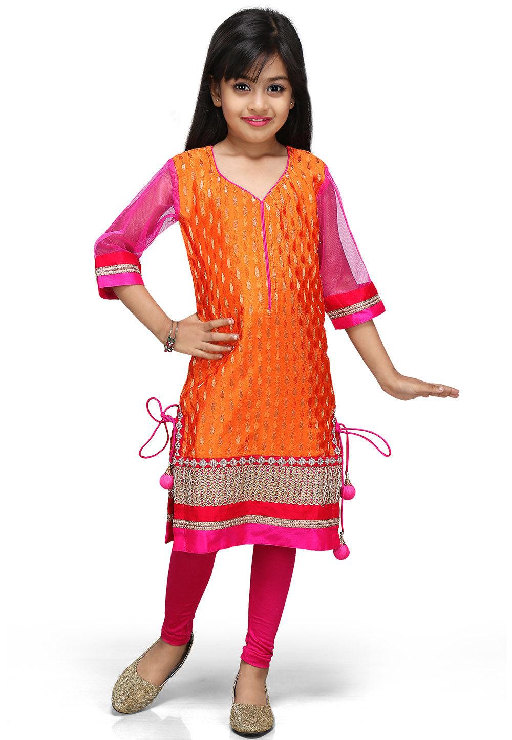Woven Chinon Viscose Salwar Sets in Orange