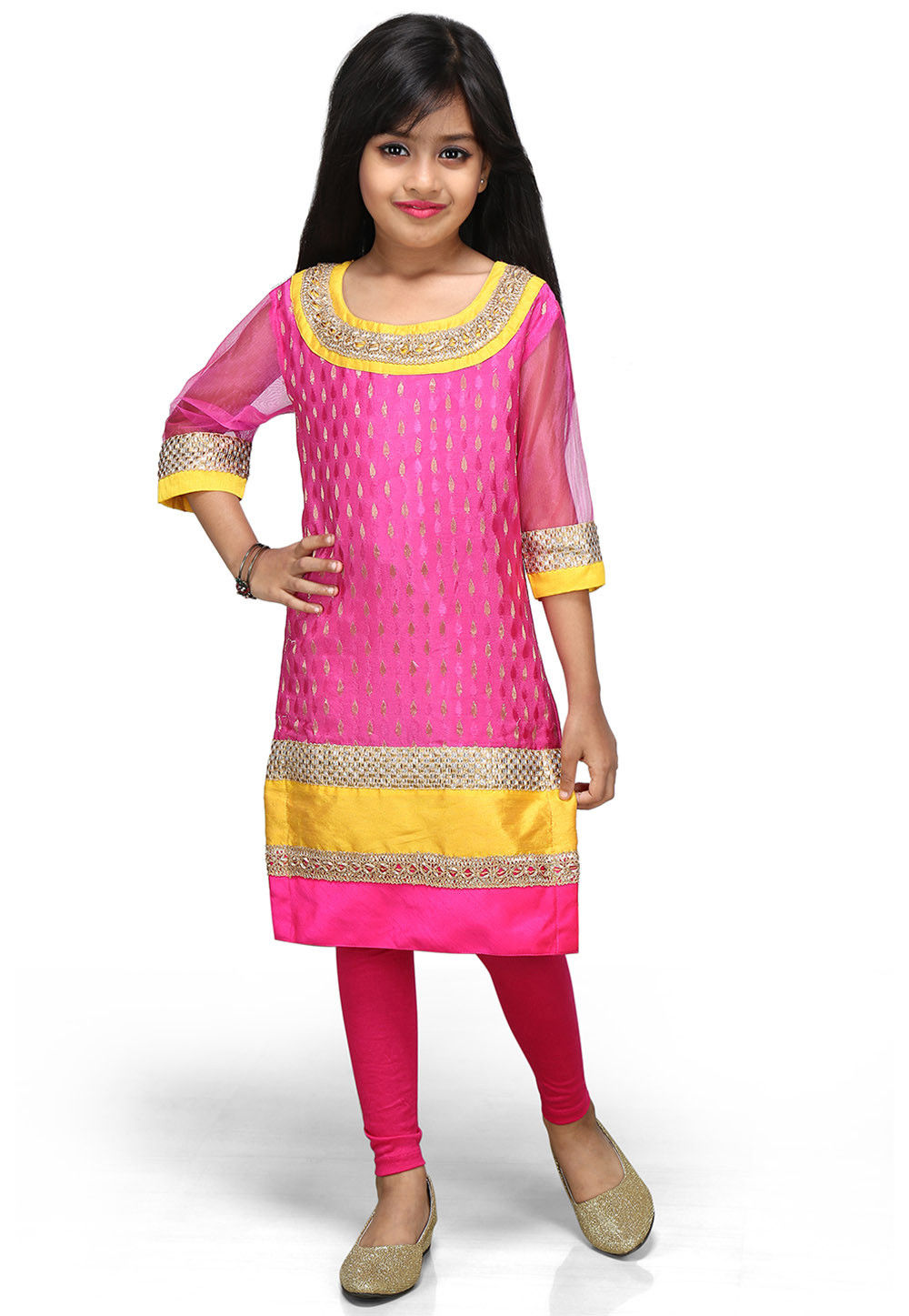 Woven Chinon Viscose Salwar Sets in Fuchsia