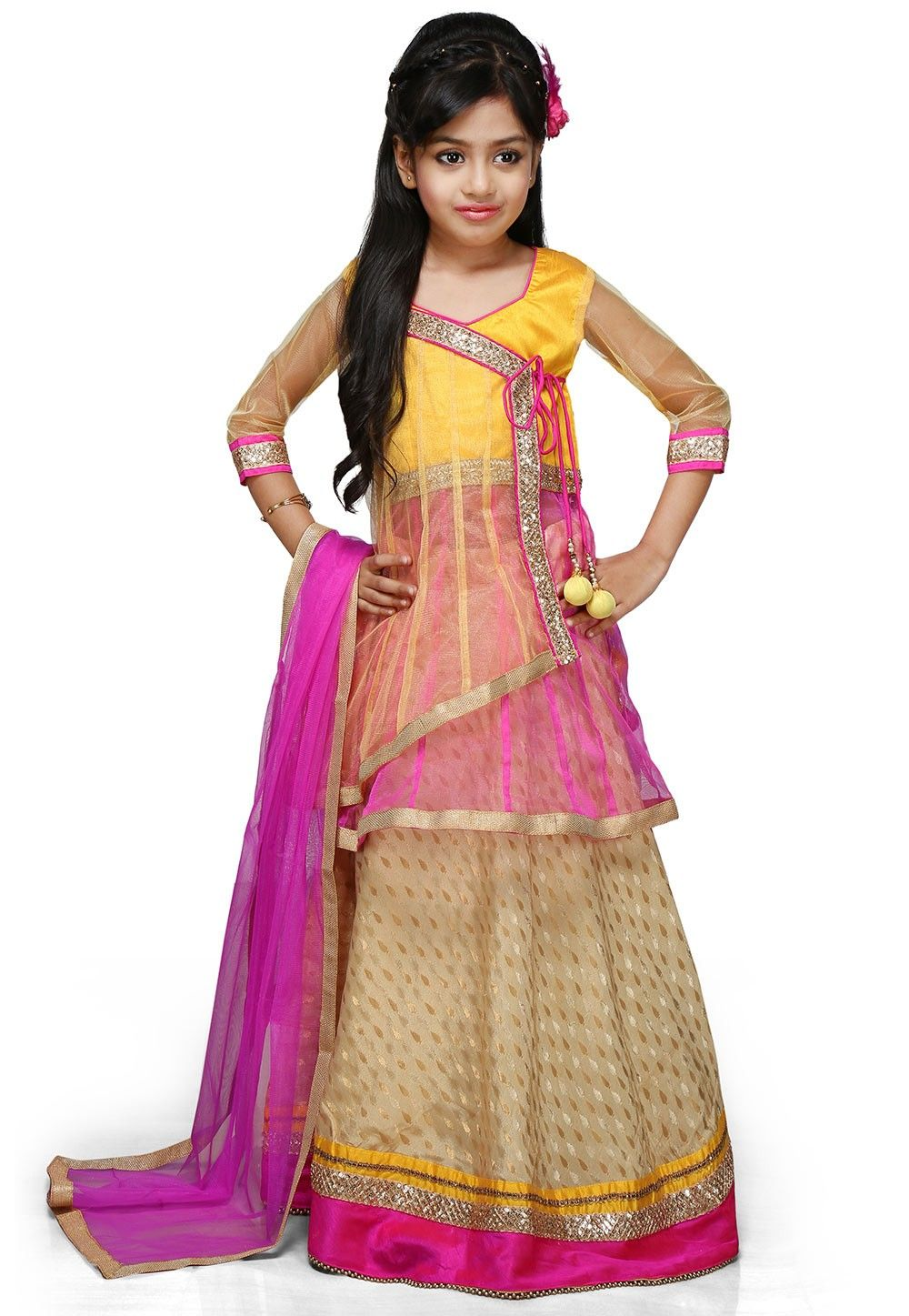 Embroidered Chinon Viscose Lehenga Set in Light Beige