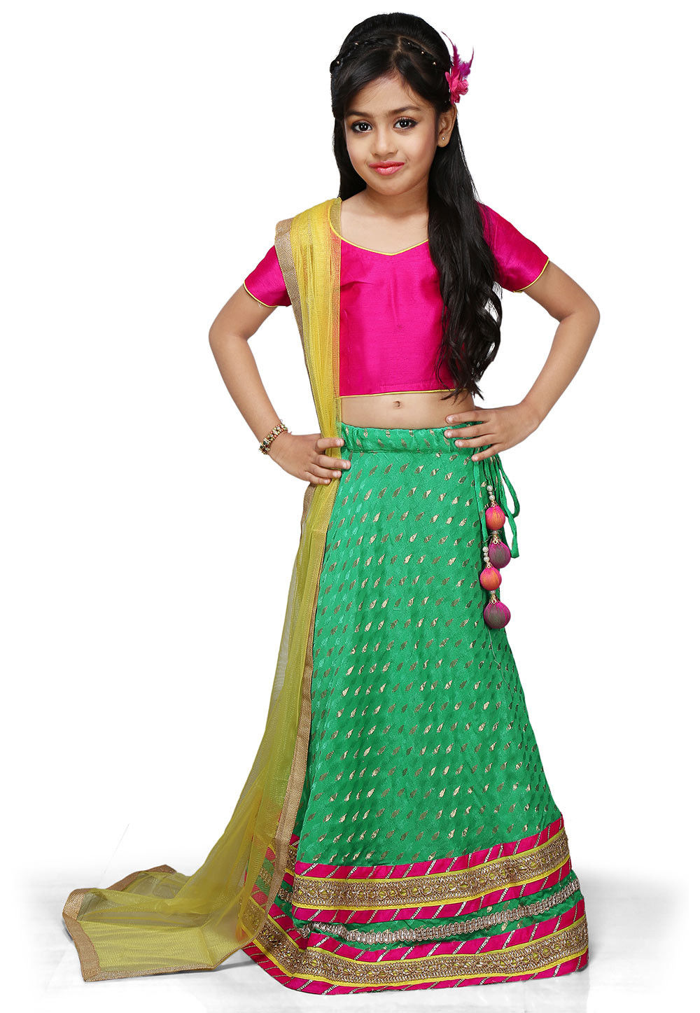 Woven Chinon Viscose Lehenga Set in Teal Green
