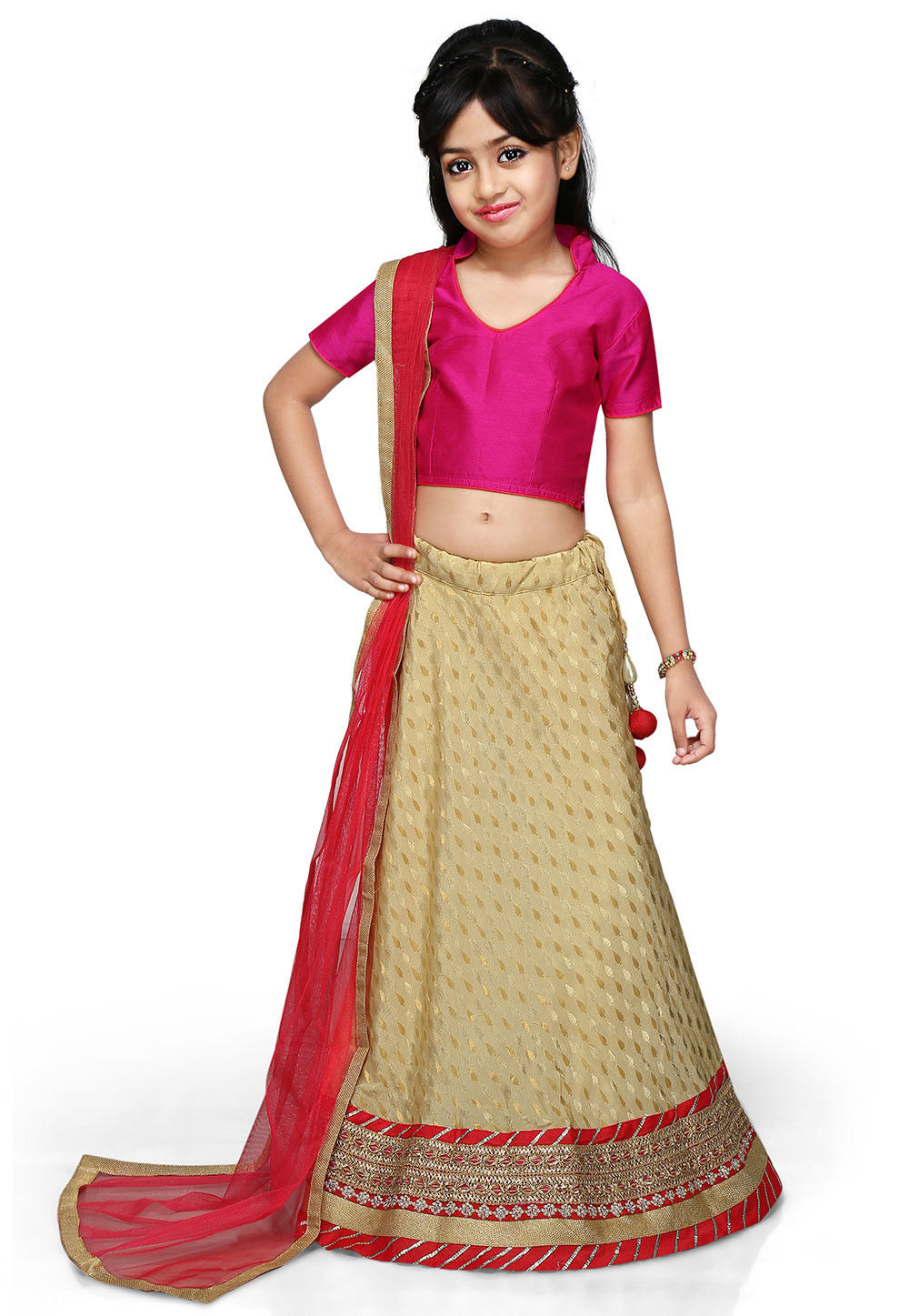 Woven Chinon Viscose Lehenga Set in Beige