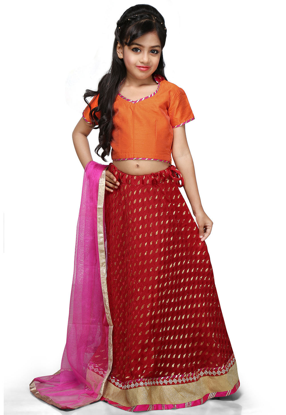 Woven Chinon Viscose Lehenga Set in Red