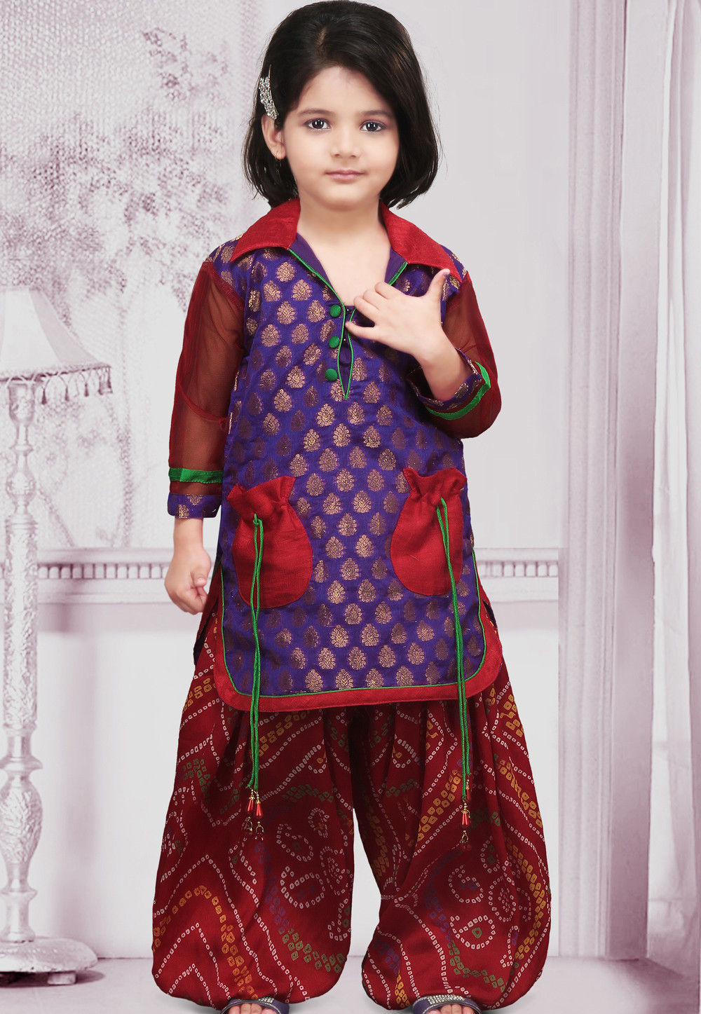 Brocade Salwar Set in Purple