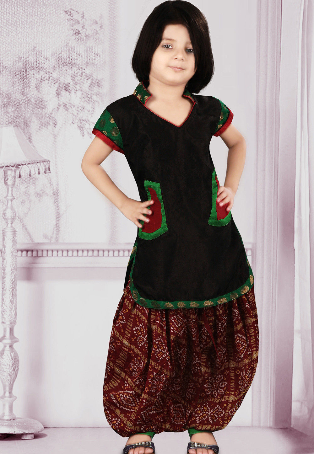 Dupion Silk Salwar Set in Black