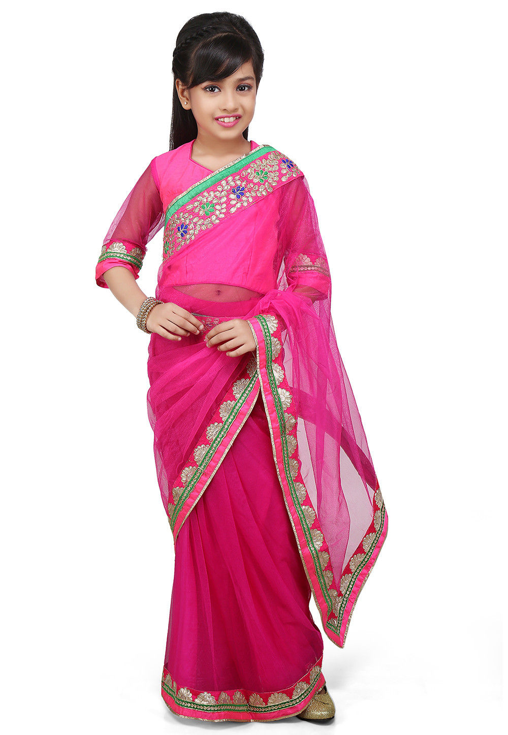 Embroidered Pre Stitched Net Saree in Fuchsia