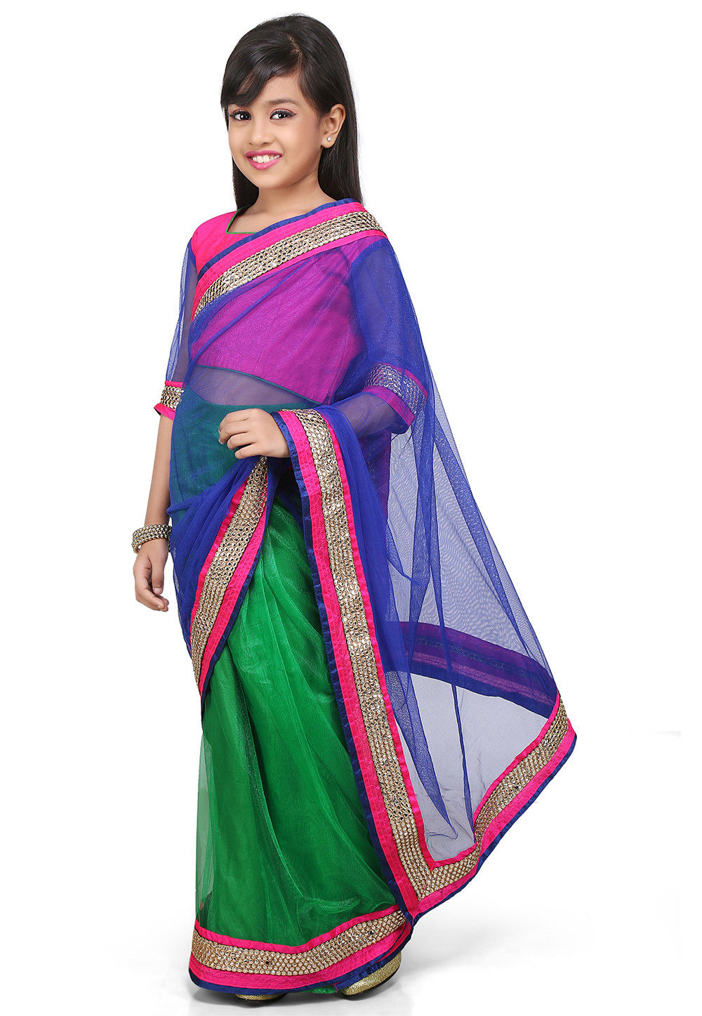 Embroidered Pre Stitched Net Saree in Blue and Green