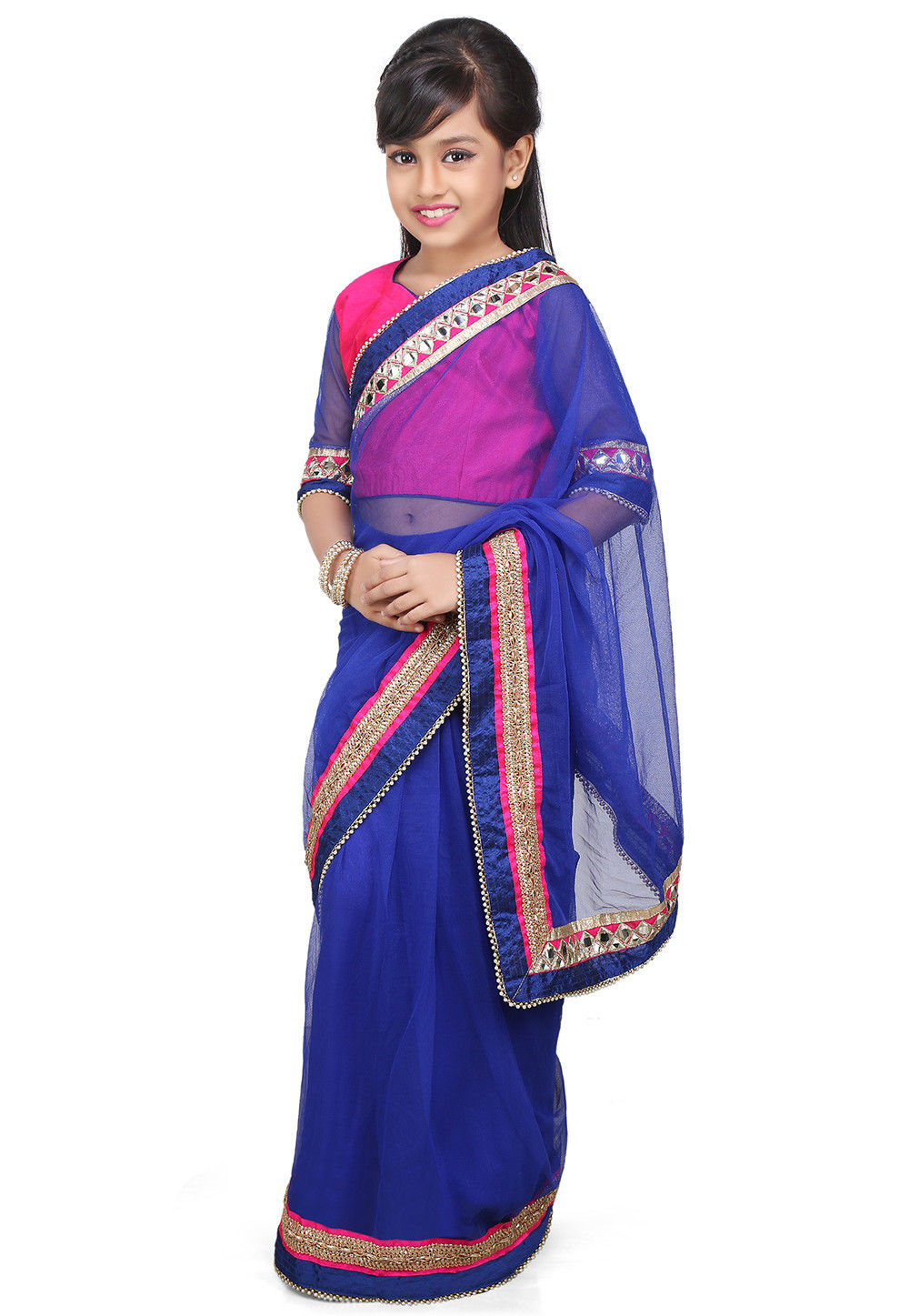 Embroidered Pre Stitched Net Saree in Royal Blue