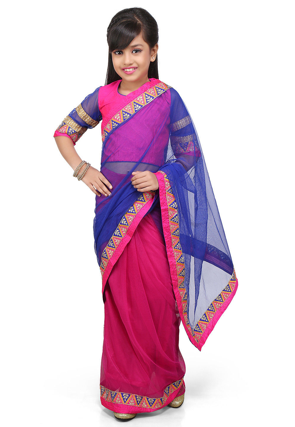 Embroidered Pre Stitched Net Saree in Royal Blue and Fuchsia