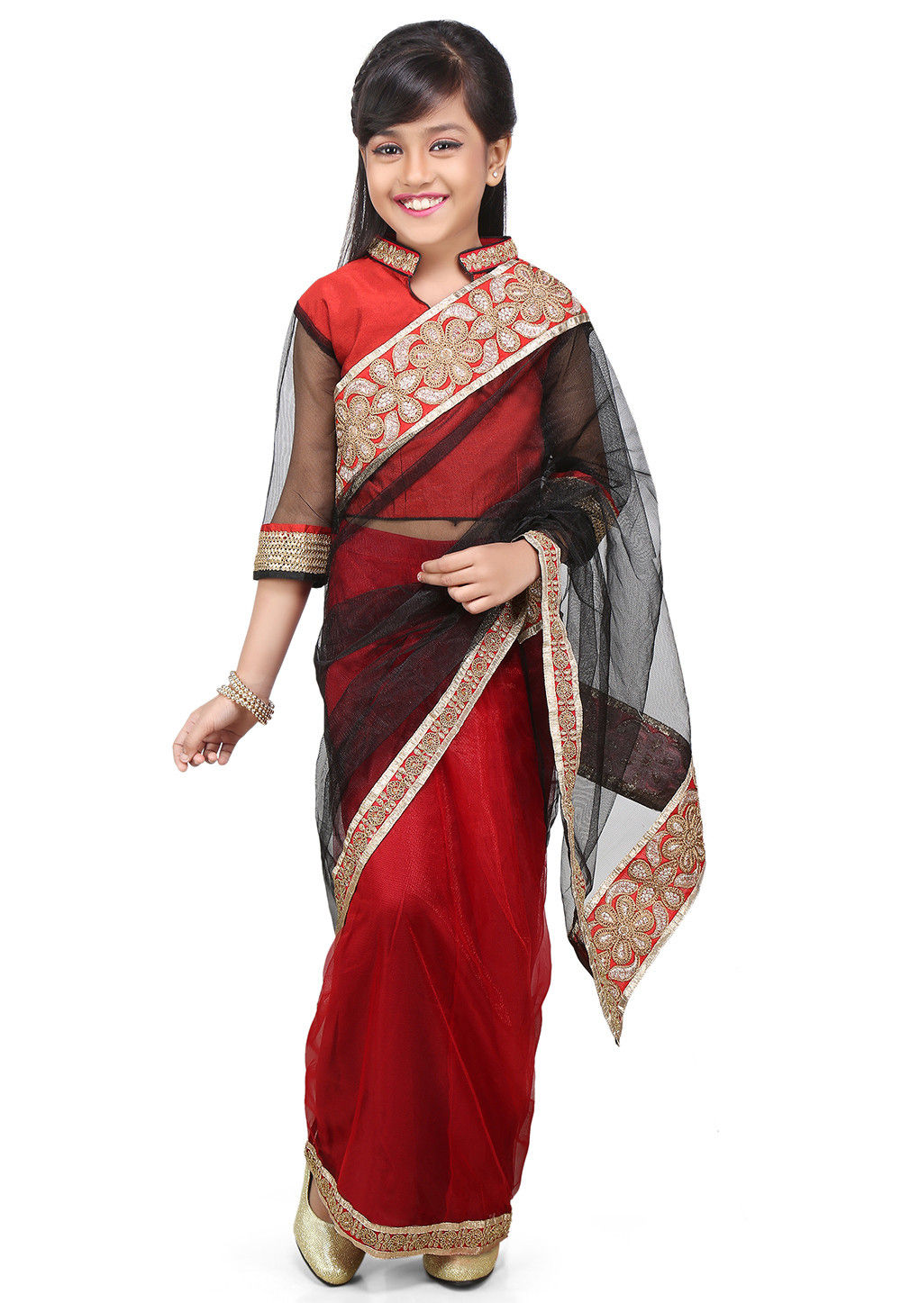Embroidered Pre Stitched Net Saree in Black and Red