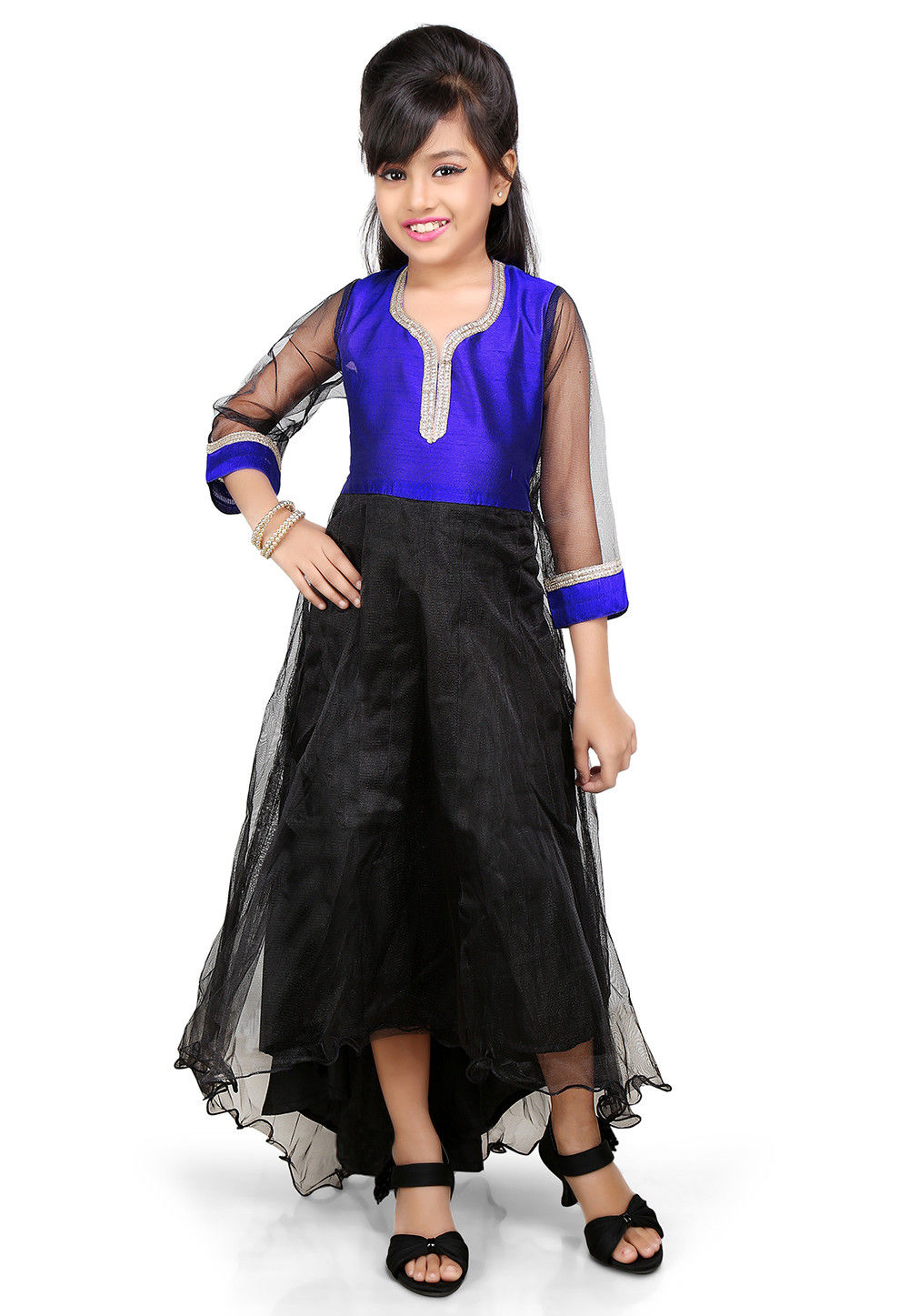 Plain Net and Dupion Silk Asymmetric Gown in Black and Blue