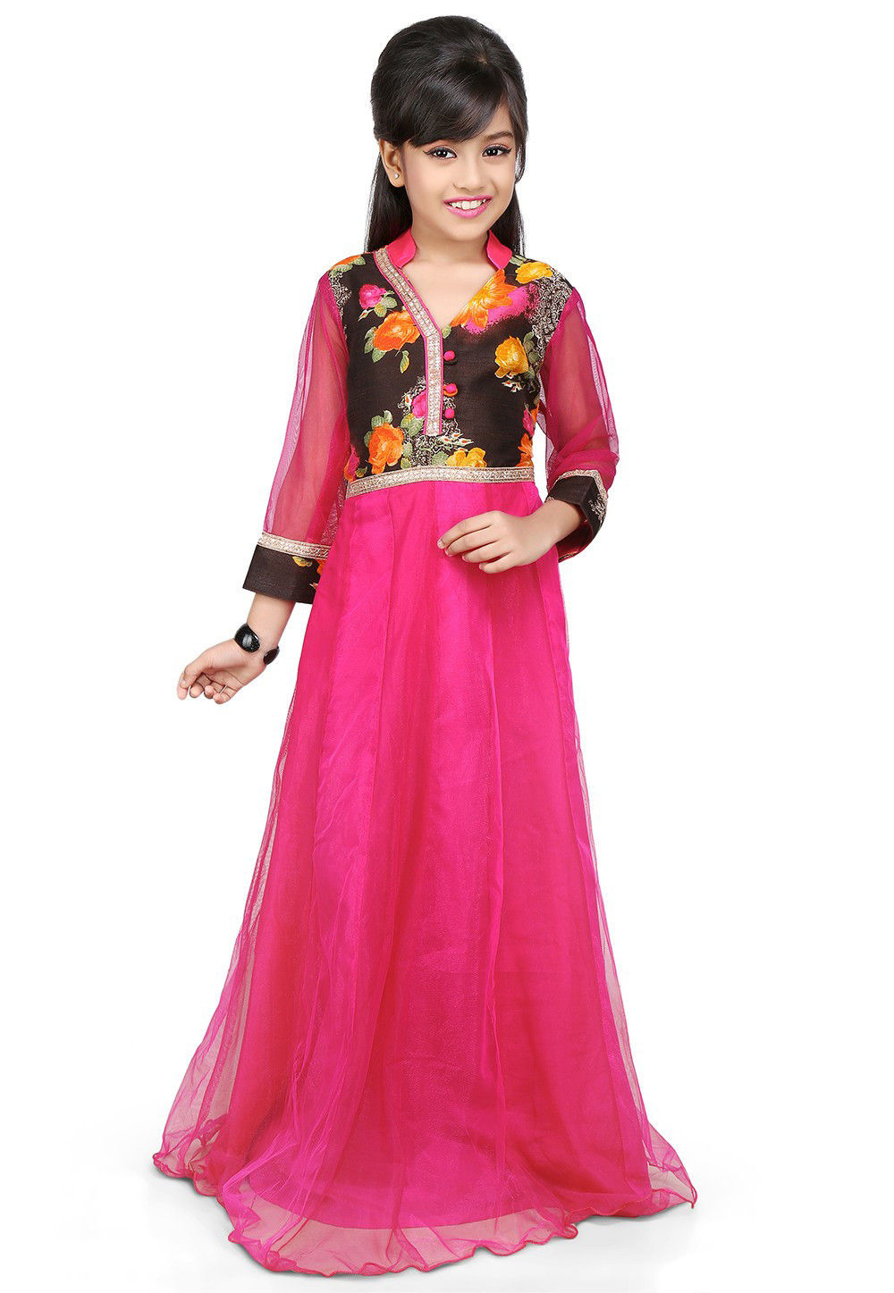 Printed Net and Bhagalpuri Silk Gown in Fuchsia and Black