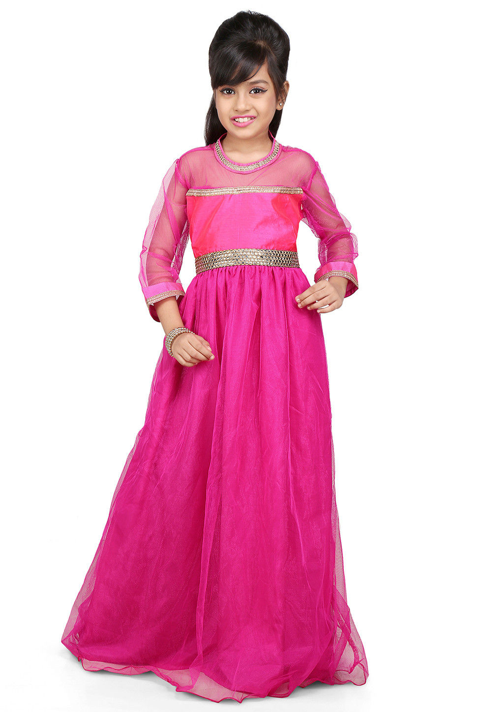 Plain Net and Dupion Silk Gown in Pink