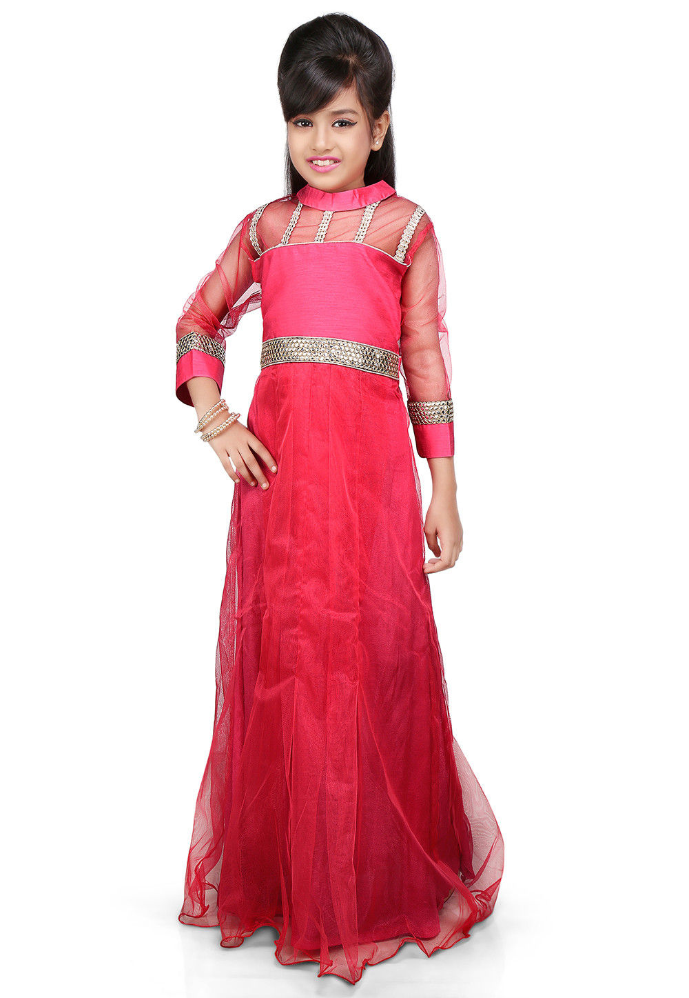Plain Net and Dupion Silk Gown in Fuchsia