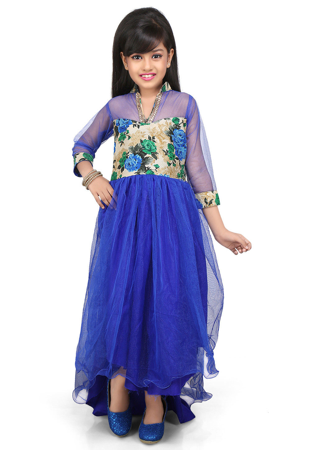 Printed Net and Ghicha Silk Gown in Royal Blue and Beige