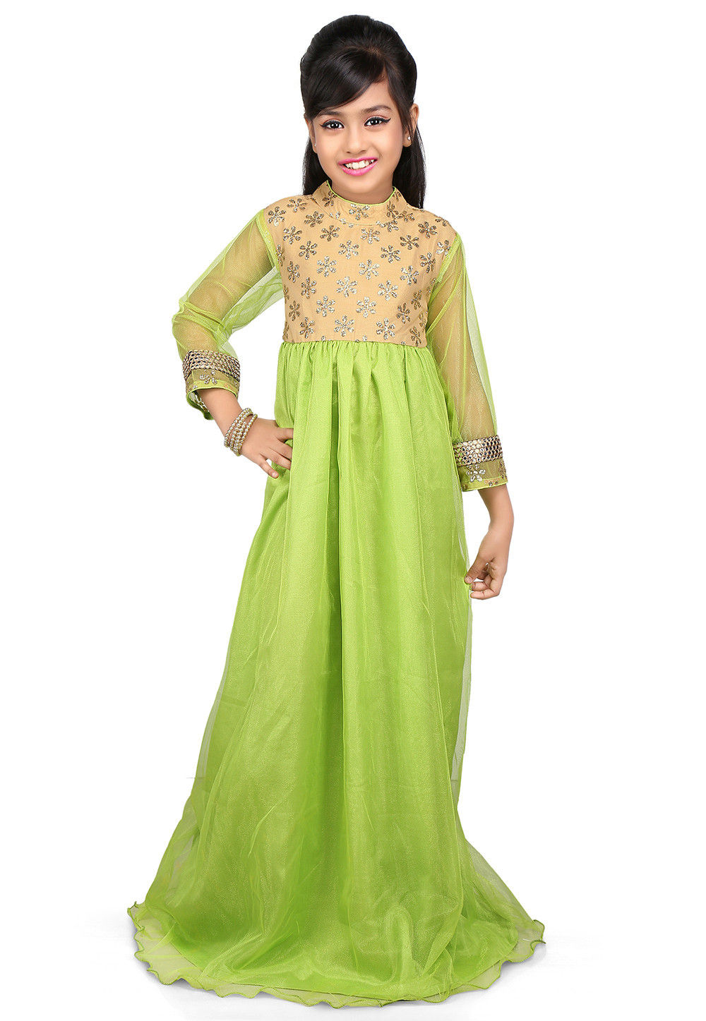 Embroidered Net and Dupion Silk Gown in Neon Green and Beige