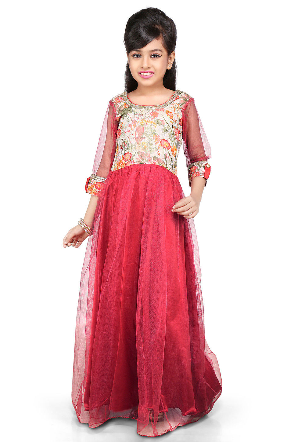Printed Net and Bhagalpuri Silk Gown in Pink and Beige
