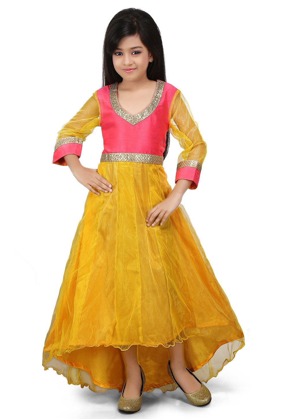 Plain Net Asymmetric Gown in Yellow and Pink