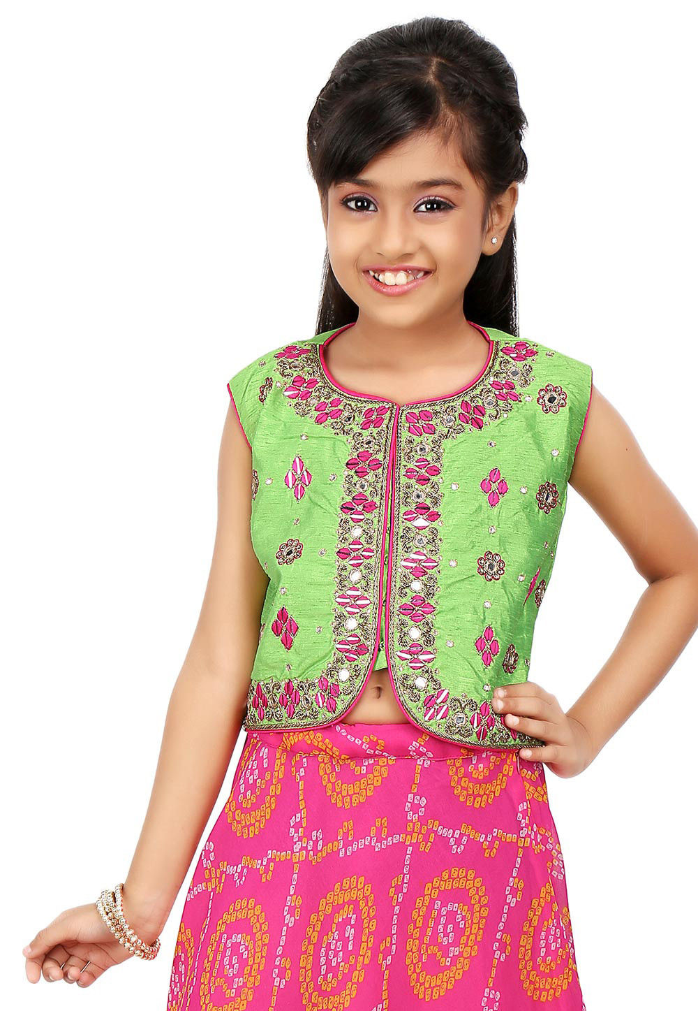 Embroidered Dupion Silk Jacket in Green