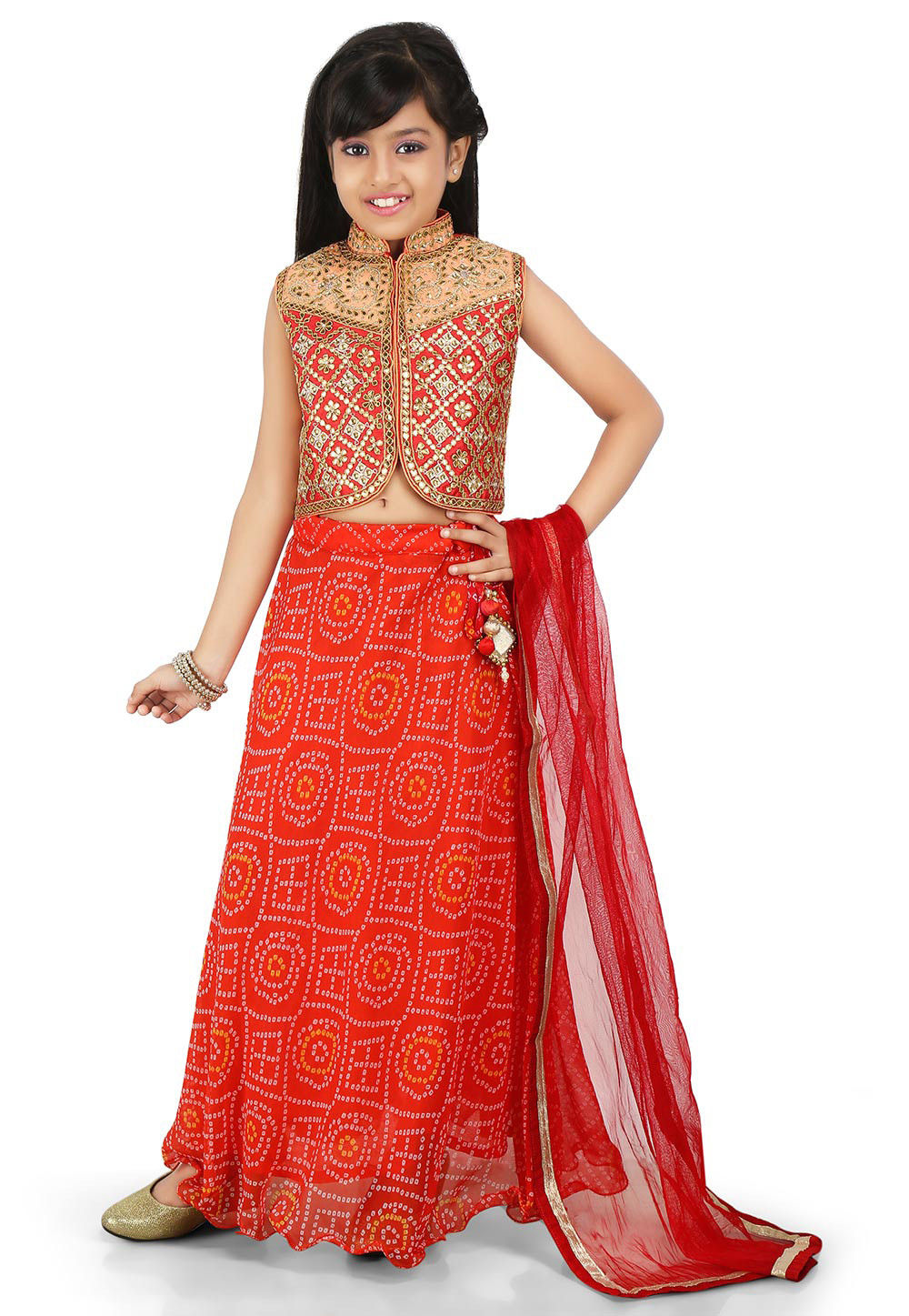Bandhej Georgette A Line Lehenga in Red